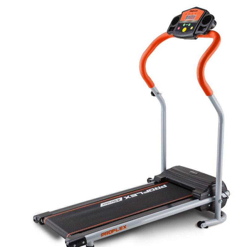 PROFLEX Electric Compact Walking Treadmill Home Exercise Equipment Black/Silver/Orange by Proflex