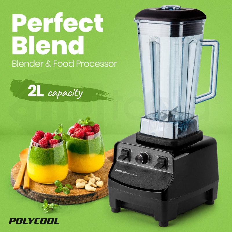 POLYCOOL 2L Commercial Blender Mixer Food Processor Smoothie Ice Crush Black by PolyCool