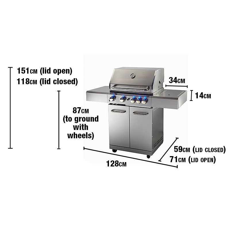 EuroGrille 5 Burner BBQ Outdoor Barbeque Grill Gas Stainless Steel Kitchen by EuroGrille
