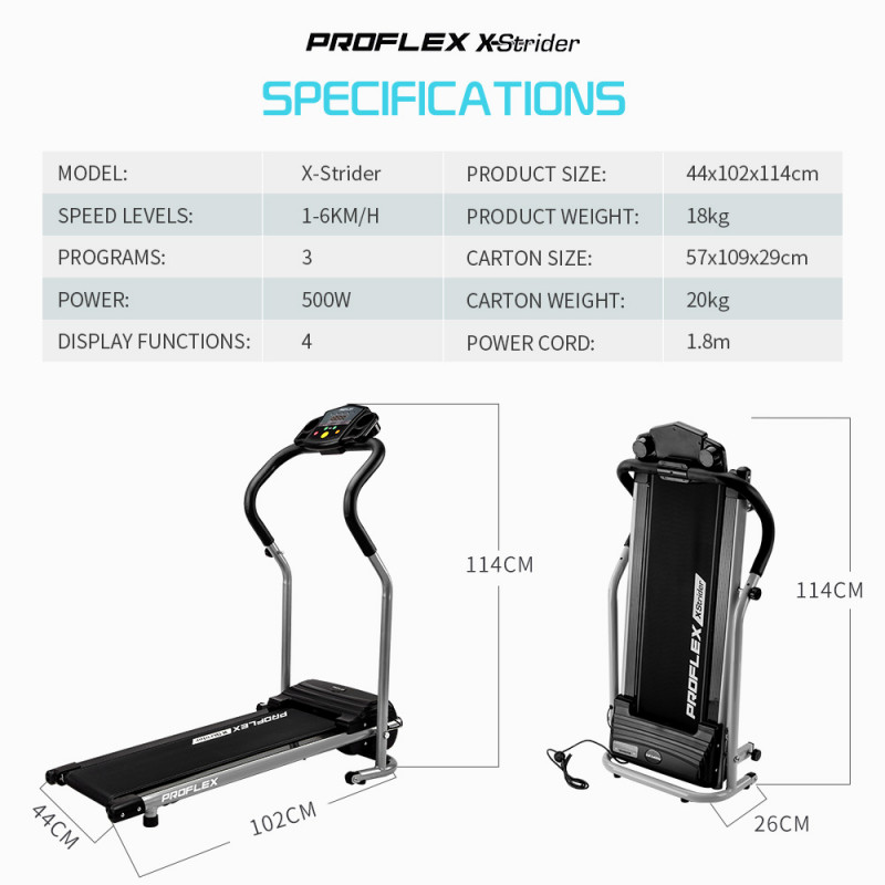 PROFLEX Electric Compact Walking Treadmill Fitness Equipment Black by Proflex
