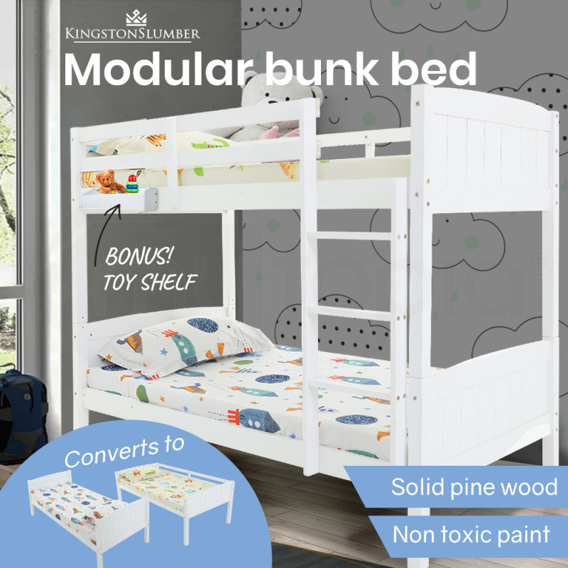 KINGSTON SLUMBER Bunk Bed Frame Single Modular Wood White Kids Double Deck Twin by Kingston Slumber