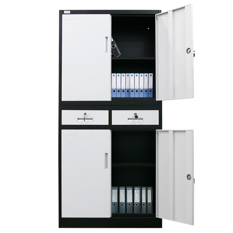 FORTIA Black/White 4 Door 2 Drawer Steel Stationery Office Cabinet Storage by Fortia