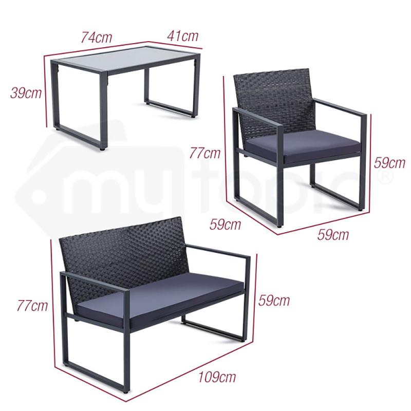 LONDON RATTAN 4PC Outdoor Furniture Setting Patio Wicker Set Table Chairs Garden by London Rattan