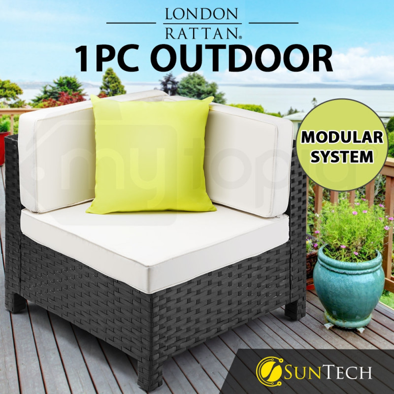 LONDON RATTAN Corner Modular Outdoor Lounge Chair 1pc Wicker Black Light Grey by London Rattan