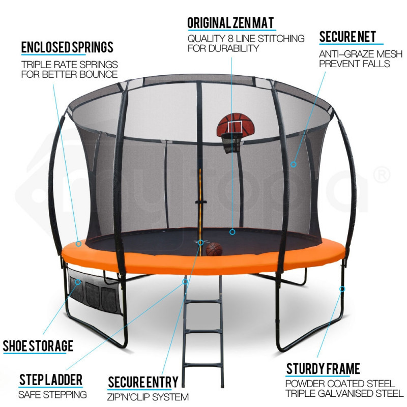 14ft Round Trampoline FREE Basketball Safety Net Spring Pad Ladder by Up-Shot