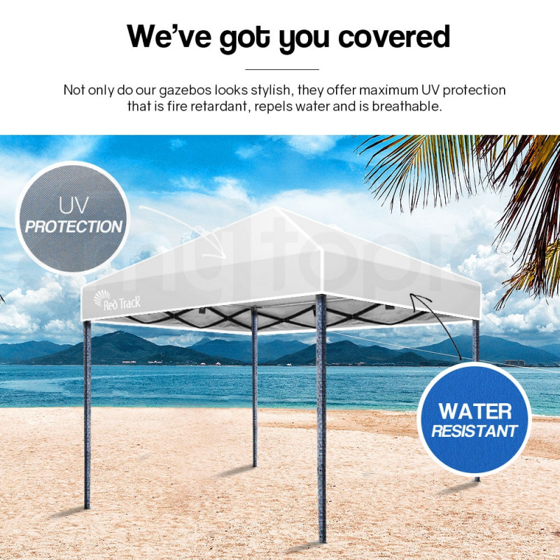 Red Track 3x3m Folding Gazebo Shade Outdoor Pop-Up White Foldable Marquee White by Red Track