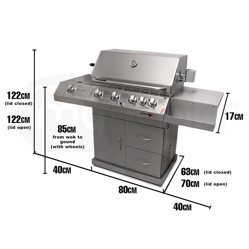EuroGrille 6 Burner BBQ Kitchen Grill Outdoor Barbeque Gas Stainless Steel by EuroGrille
