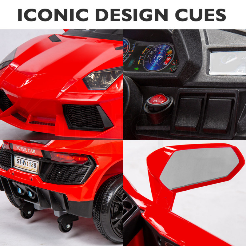 ROVO KIDS Ride-On Car LAMBORGHINI Inspired - Electric Toy Battery Remote Red by Rovo Kids