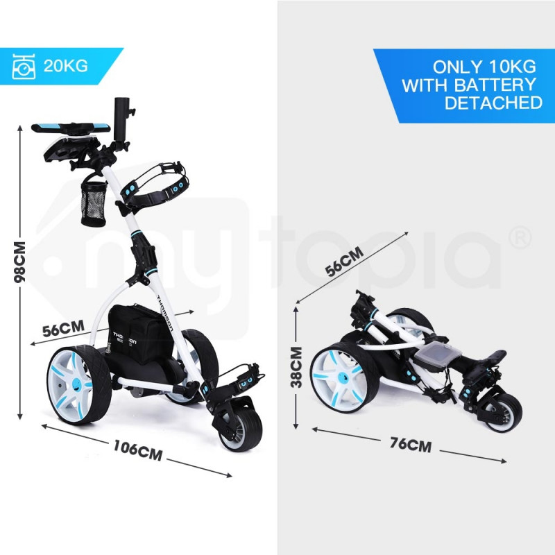 THOMSON Golf Buggy Electric Trolley Automatic Motorised Foldable Cart Powered by Thomson