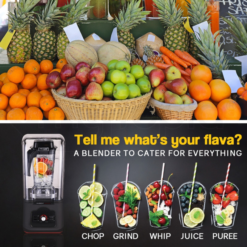 POLYCOOL Commercial Blender Quiet Enclosed Processor Smoothie Cafe Mixer Fruit by PolyCool