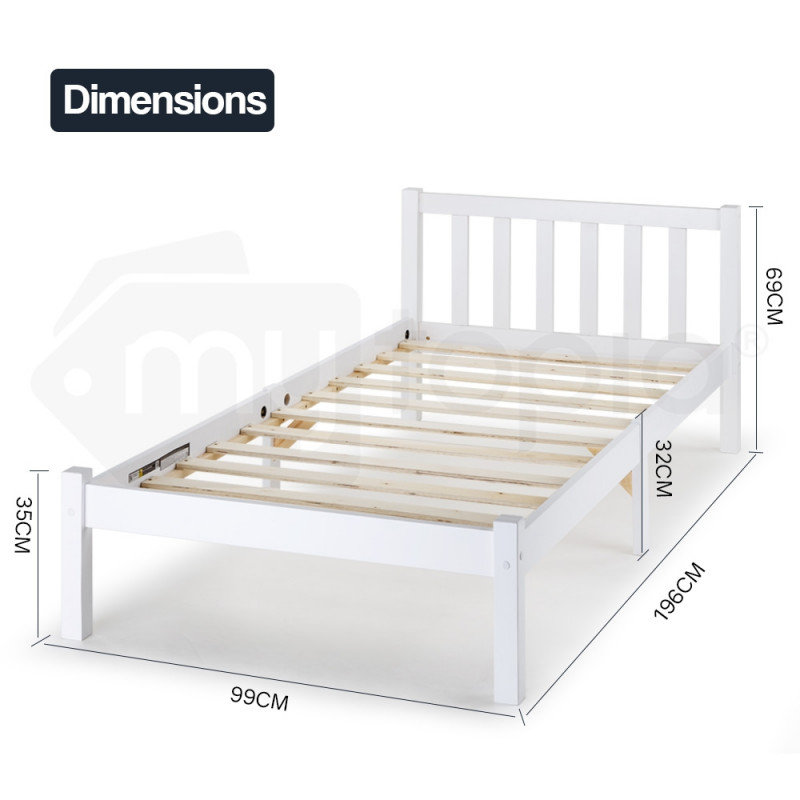 White Single Bed Frame With Medium Firm Mattress by Kingston Slumber