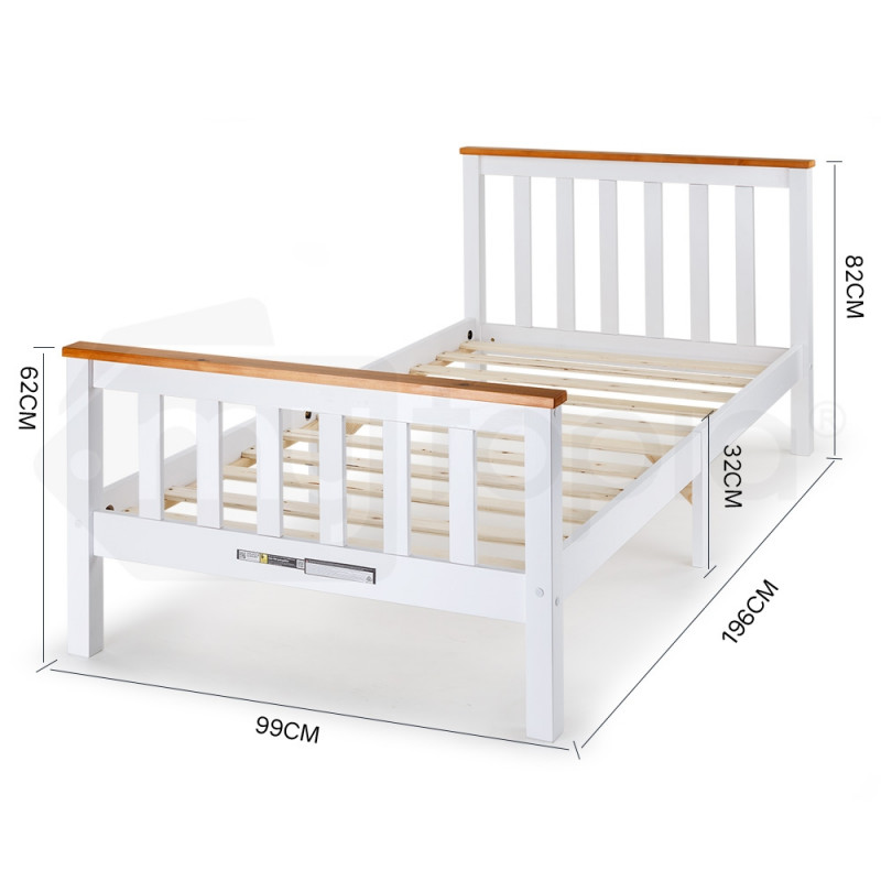 White, Teak Accents Bed Frame With Mattress Single Indoor Furniture by Kingston Slumber