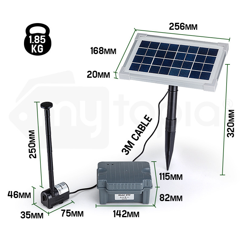25W Solar Powered Fountain Submersible Water Pump with Battery Pond Kit Garden by Protege