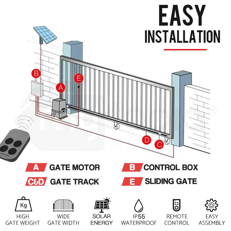 E-Guard 5m Solar Powered Automatic Electric Sliding Gate Opener by E-Guard