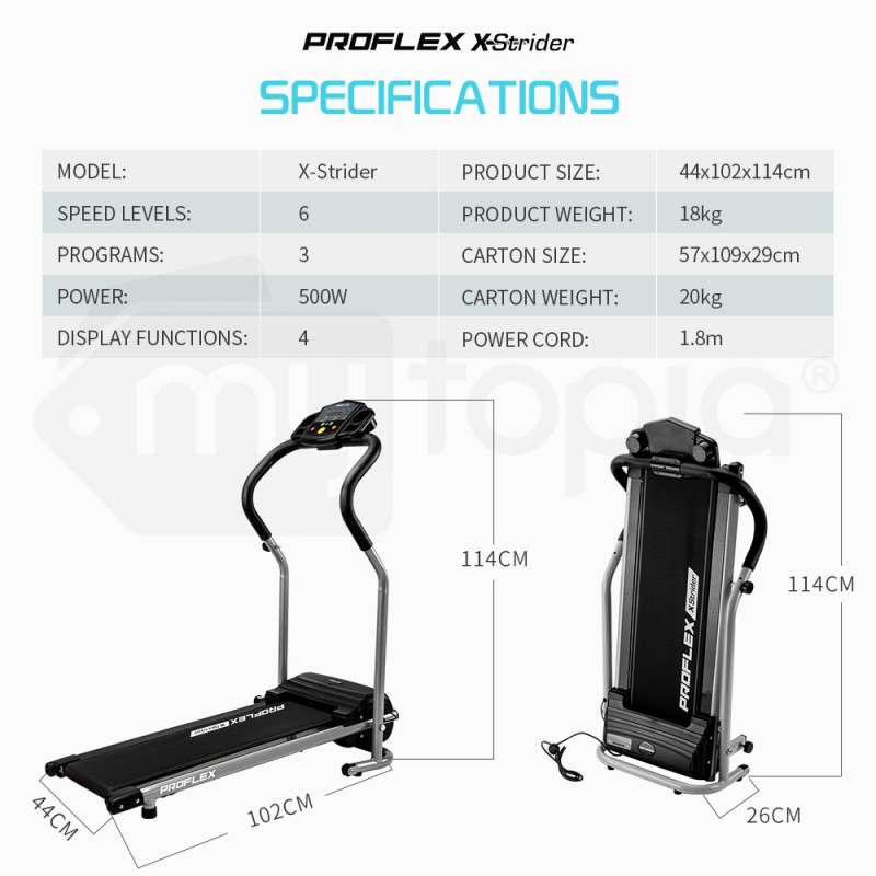 PROFLEX Electric Treadmill Compact Exercise Machine Fitness Equipment Black by Proflex