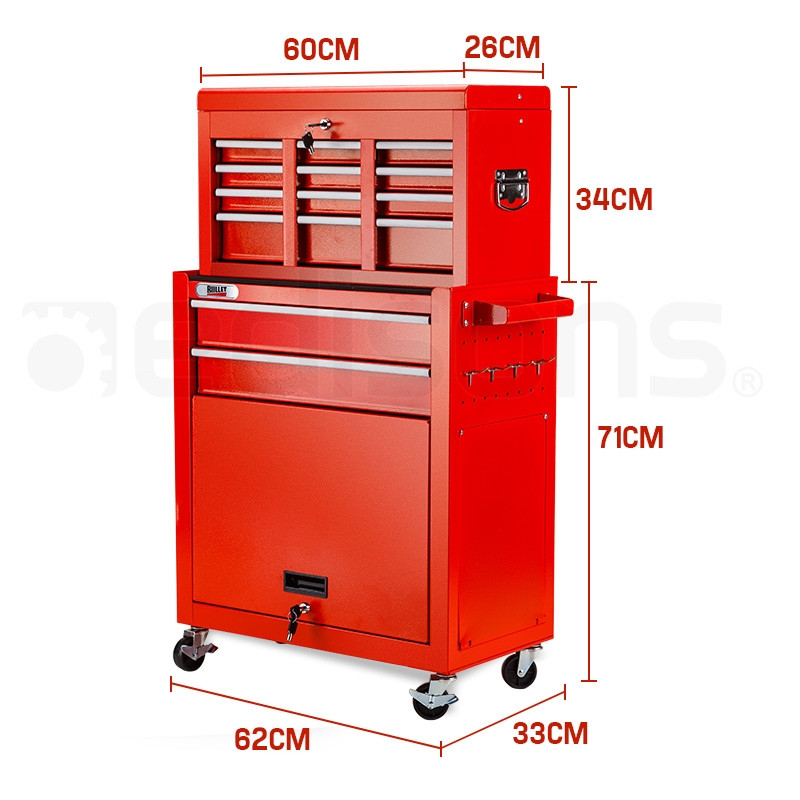 BULLET 8 Drawer Tool Box Cabinet Chest Storage Toolbox Garage Organiser Set - Red by Bullet Pro