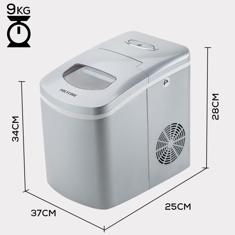 POLYCOOL 2L Portable Ice Maker Automatic Machine Home Quick Fast Fridge Silver by PolyCool