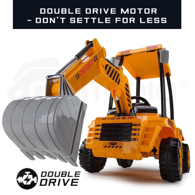 ROVO KIDS Ride-On Digger Electric Tractor Loader Bulldozer Toy Battery Excavator by Rovo Kids