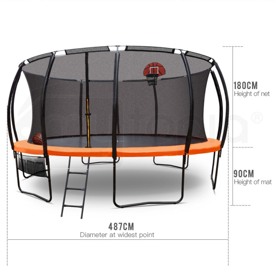 16ft Round Trampoline Basketball Set Safety Net Pad Spring Ladder by Up-Shot