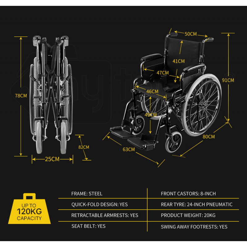 EQUIPMED 24 Inch Folding Wheelchair with Park Brakes, 120kg Capacity, Retractable Armrests, Black by Equipmed