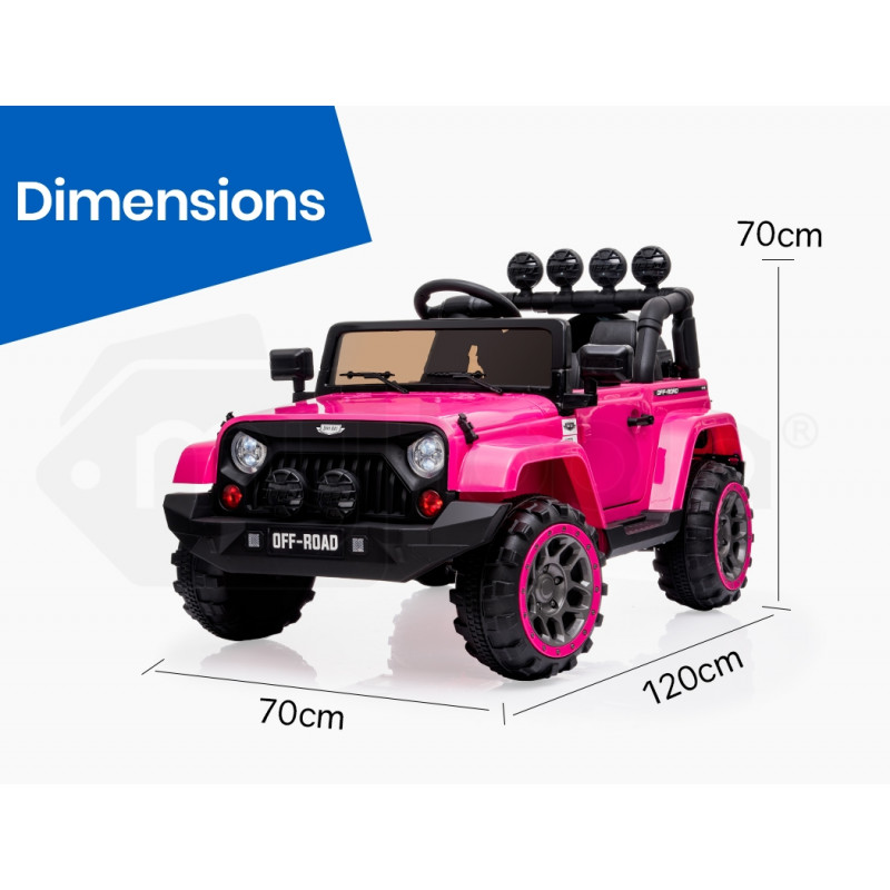 ROVO KIDS Jeep Inspired 4WD Electric Kids Ride On Car Battery Powered 12V, MP3 Player - Pink by Rovo Kids