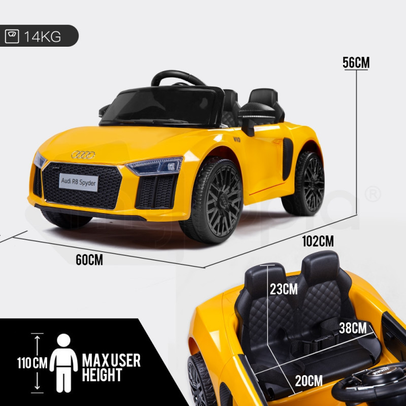 Kids Ride-On Car Licensed AUDI R8 SPYDER Battery Electric Toy Remote 12V Yellow by Rovo Kids