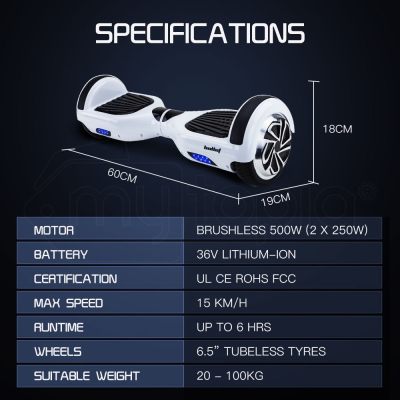 BULLET Hoverboard Scooter Self-Balancing Electric Hover Board White Skateboard by Bullet