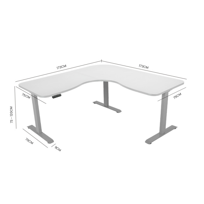 FORTIA Height Adjustable Standing Corner Desk Sit Stand, Electric, Motorised Office White with Silver Frame						 by Fortia