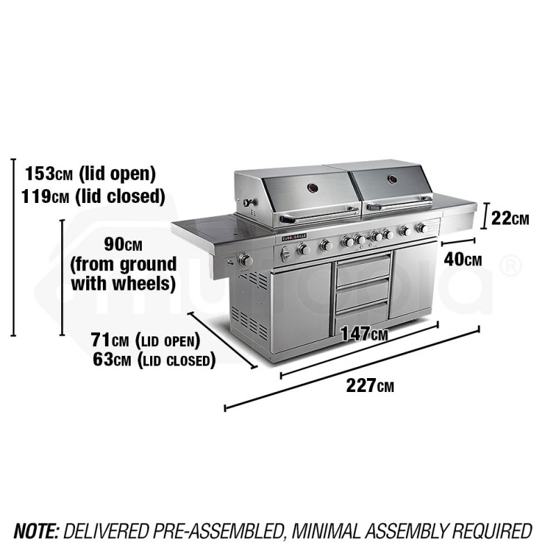 EuroGrille 9 Burner BBQ Grill Outdoor Barbeque Gas Stainless Steel Kitchen by EuroGrille