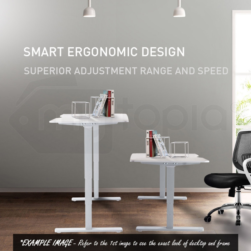 FORTIA 160cm Height Adjustable Motorised Standing Office Desk - White & Silver Frame by Fortia