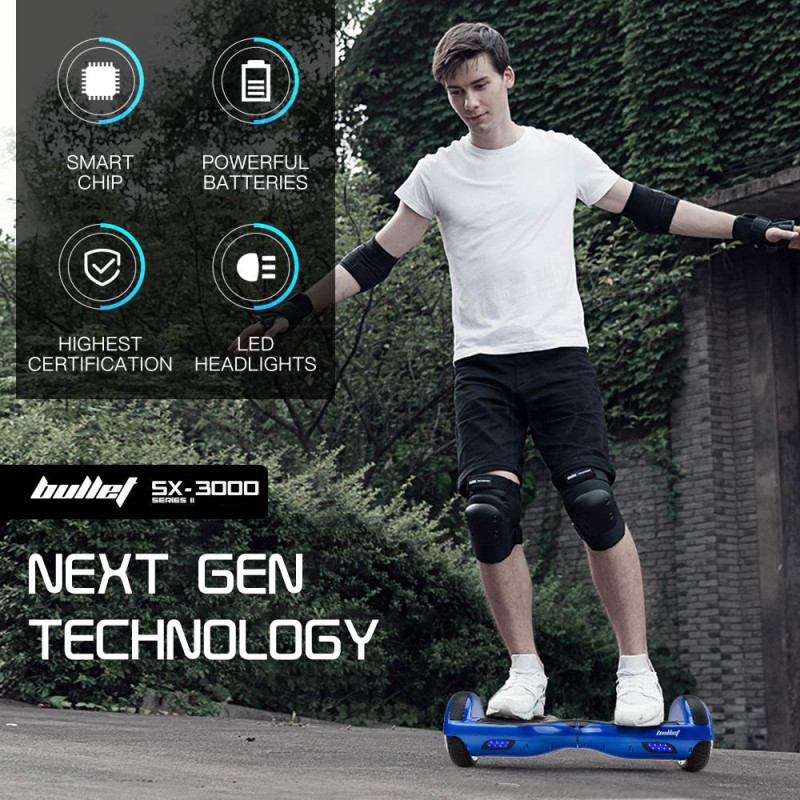 BULLET Hoverboard Scooter Self-Balancing Electric Hover Board Blue Skateboard by Bullet