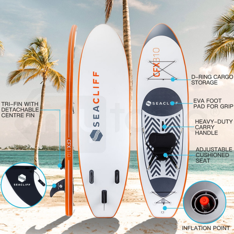 SEACLIFF Stand Up Paddle Board SUP Inflatable Paddleboard Kayak Surf Board White and Orange by Seacliff