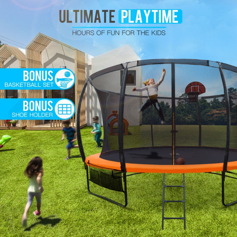 12ft Round Trampoline Basketball Set Safety Net Ladder Spring Pad by Up-Shot