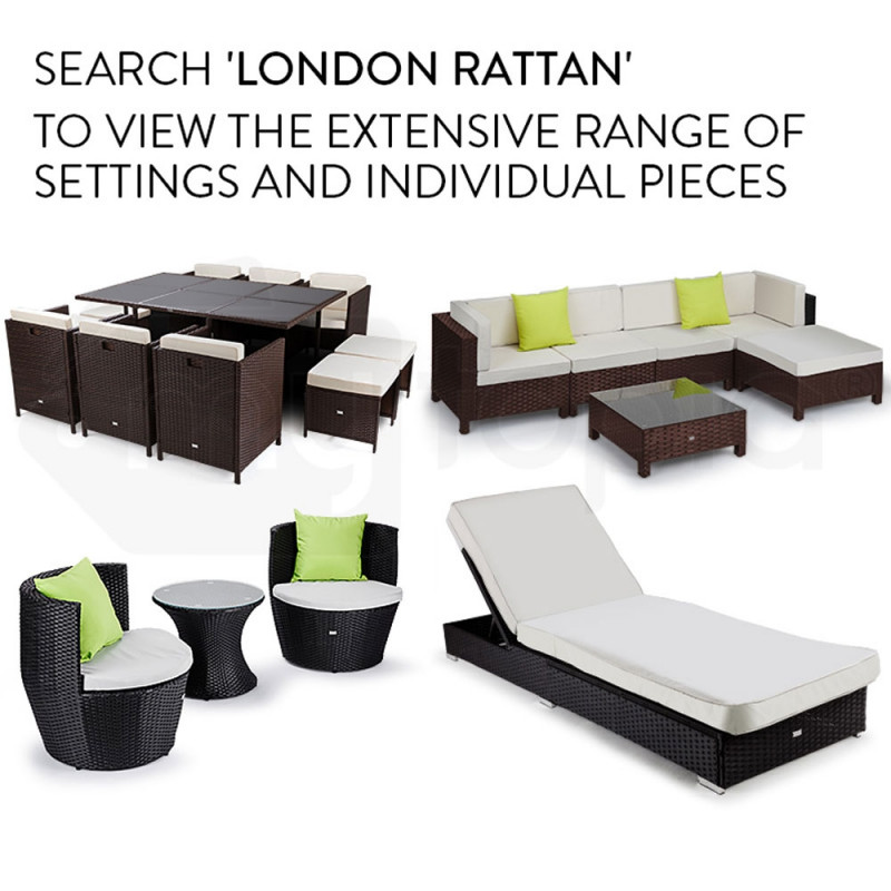 LONDON RATTAN Modular Sofa Outdoor Lounge Set 7pc Wicker Brown Beige by London Rattan