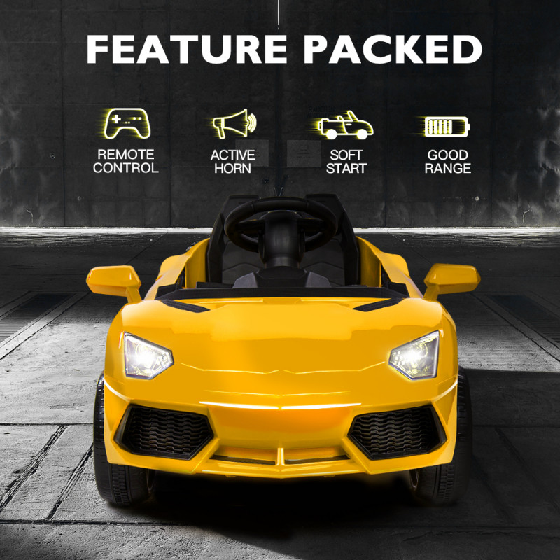 ROVO KIDS Ride-On Car LAMBORGHINI Inspired - Electric Battery Remote Yellow by Rovo Kids