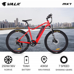 "VALK eMTB Maxxis Velo Shimano 36V 250W Electric Mountain Bike eBike 27.5"" Red - MX7 by Valk"