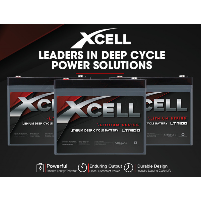 X-CELL 100Ah 12v Lithium-Iron LiFePO4 Deep Cycle Battery with BMS, for Camping, 4WD, Solar by X-Cell