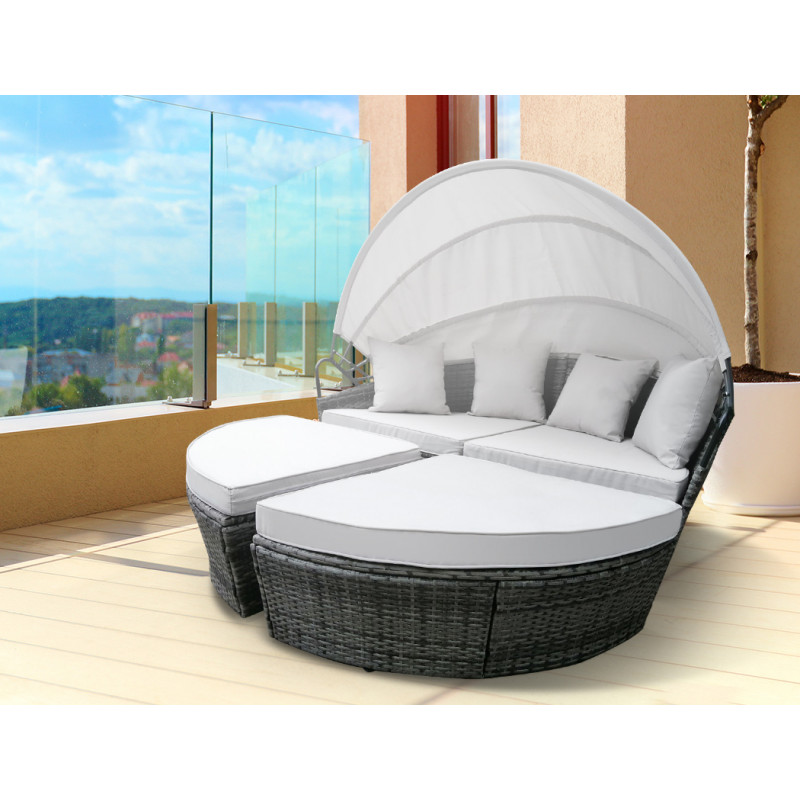 LONDON RATTAN Outdoor Day Bed, Grey Wicker, White Canopy by London Rattan