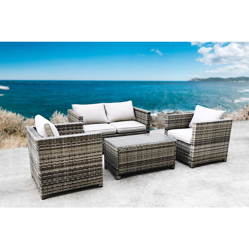 LONDON RATTAN 4pc Outdoor Furniture Wicker Lounge Set with Coffee Table and Chairs  by London Rattan