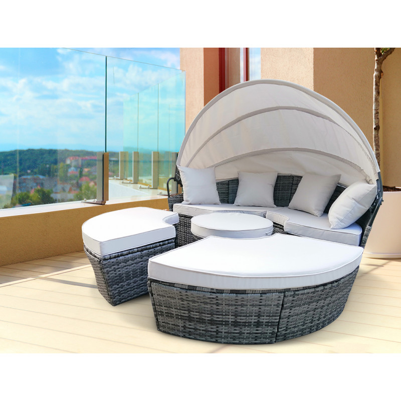 LONDON RATTAN Outdoor Day Bed 4-Piece Set, Grey Wicker, White Canopy by London Rattan