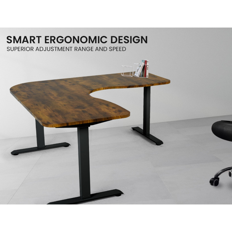 FORTIA Height Adjustable Standing Corner Desk Sit Stand, Electric, Motorised Office Walnut Style with Black Frame by Fortia