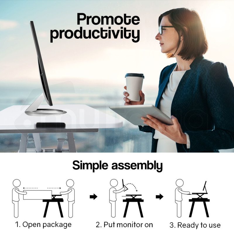 FORTIA Laptop Sit/Stand Height Adjustable Riser Desk 74cm White by Fortia