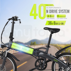 "VALK Folding eBike Alloy Frame 36V 250W Electric Bike Battery Black 20"" - Volt by Valk"