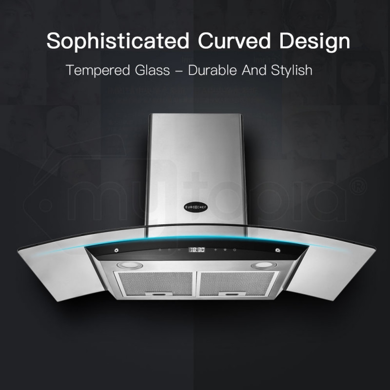 EuroChef Rangehood 900MM Stainless Steel Curved Glass Wall Mount Range Hood LED by EuroChef