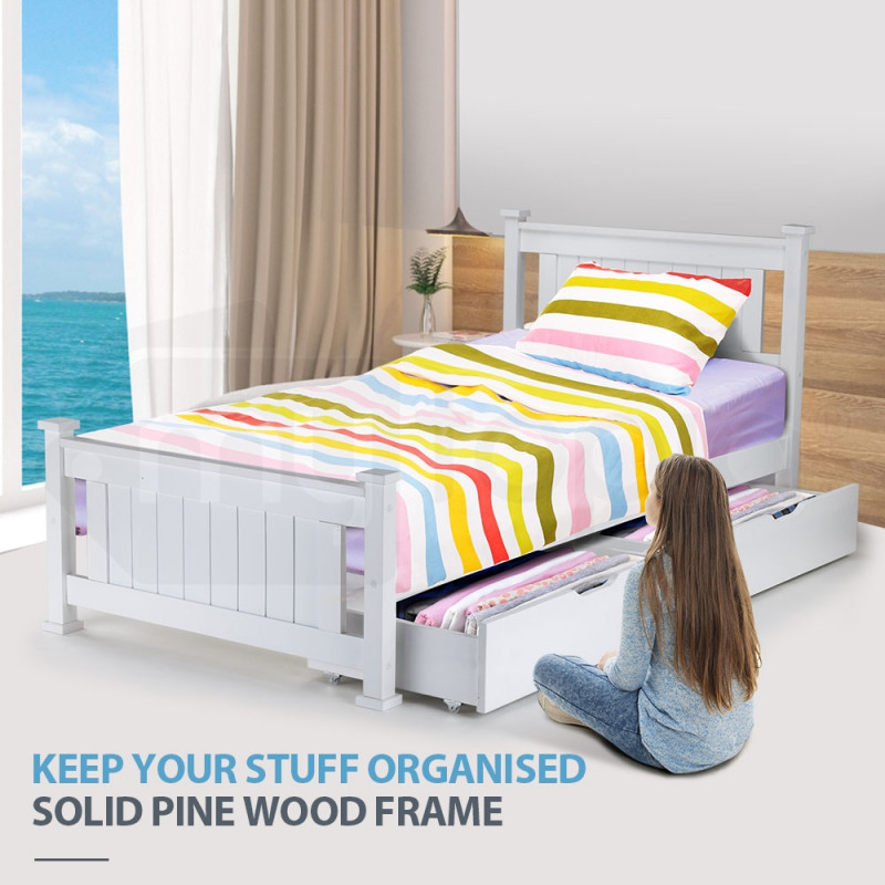 Kingston Slumber Contemporary Classic Single Wooden Bed Frame with Storage Drawer by Kingston Slumber