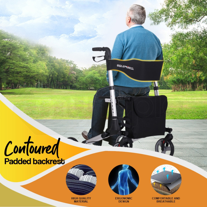 EQUIPMED Rollator Walking Frame Walker Foldable Seat Mobility Aid Aluminium by Equipmed
