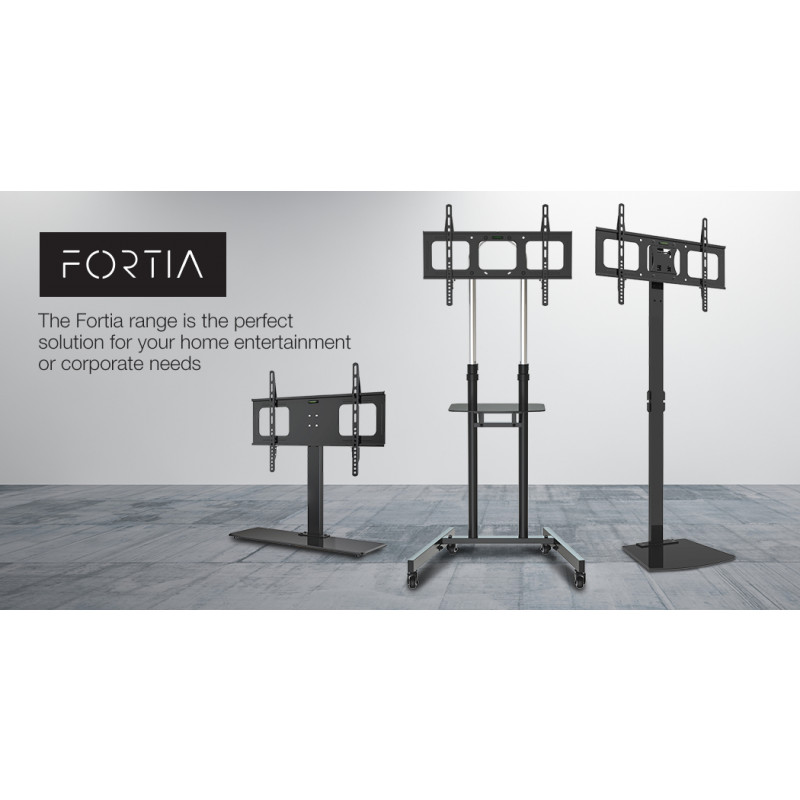 FORTIA TV Stand for 37-55 Inch Television Screens Adjustable Height Universal VESA Holds 50kg Black						 by Fortia