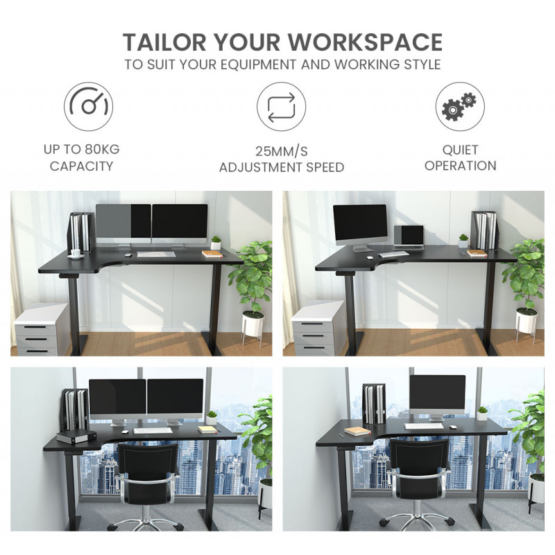 FORTIA Height Adjustable Standing Desk Sit Stand Corner Office Desk L-Shaped, Black by Fortia