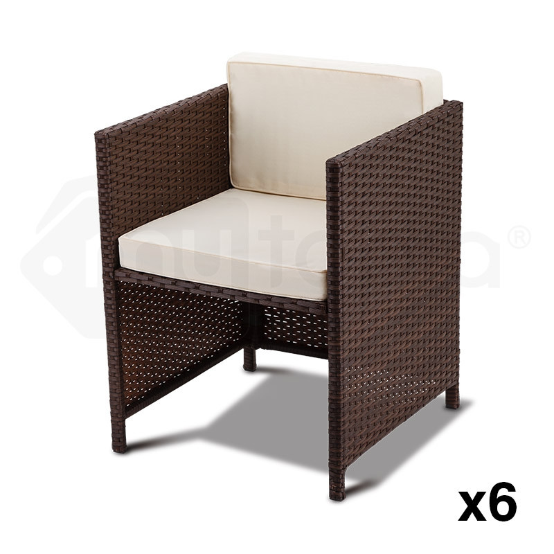 LONDON RATTAN Wicker 11 PCS Outdoor Dining Furniture Set Garden Table Chairs PE by London Rattan