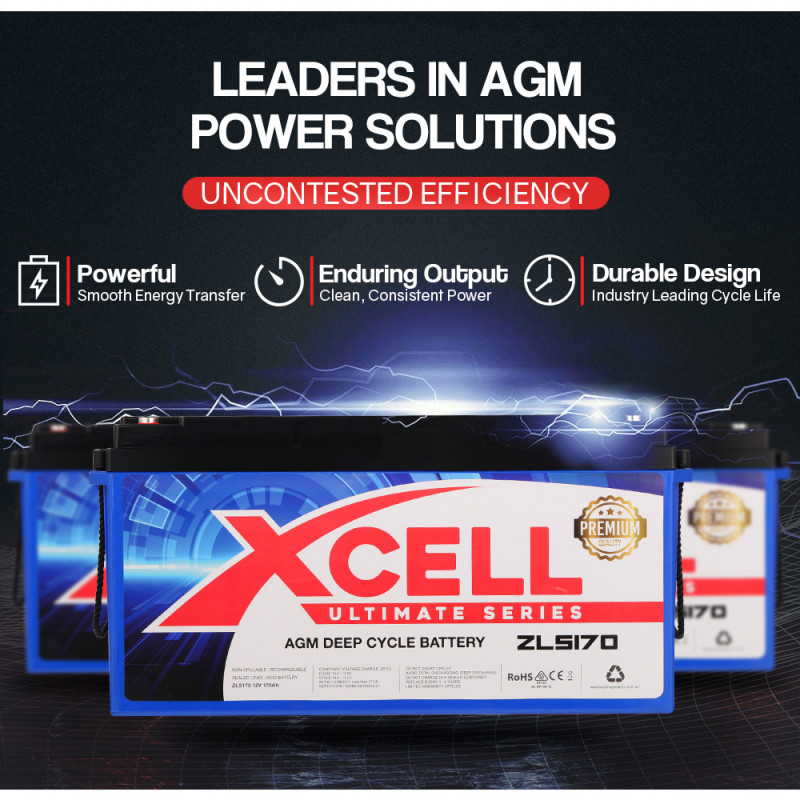 CTEK Dual Input D250SE Charger + X-CELL Deep Cycle 170A AGM Battery Bundle by X-Cell